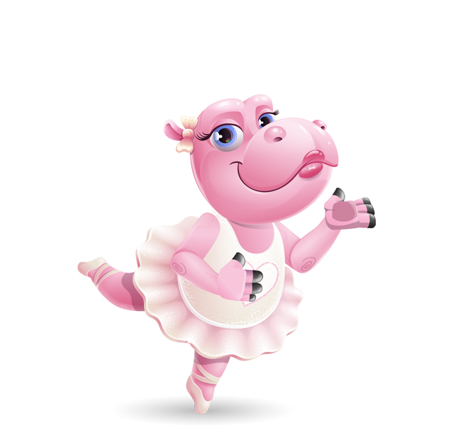 ballerina hippo dancing cartoon character