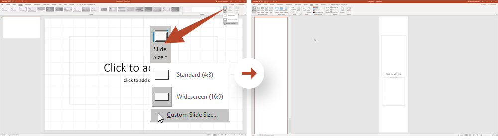 Infographic in PowerPoint: Choosing the sizes