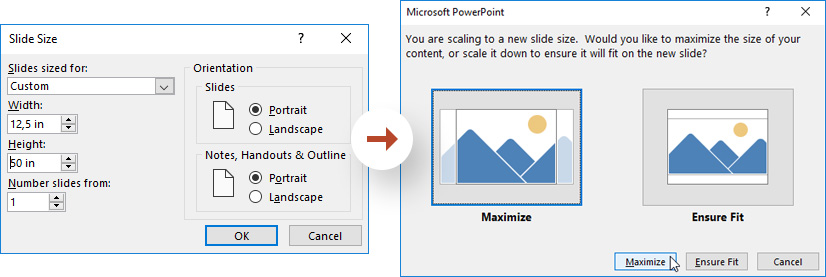 Infographic in PowerPoint: How to modify the dimensions