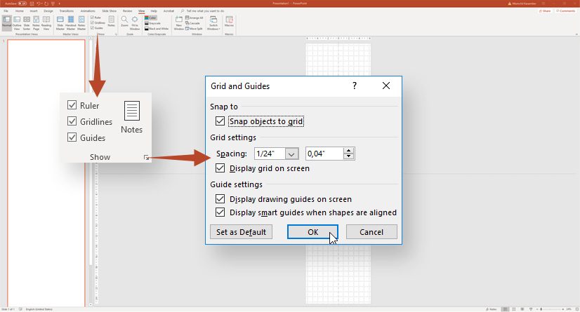 Infographic in PowerPoint: Creating grid and guides