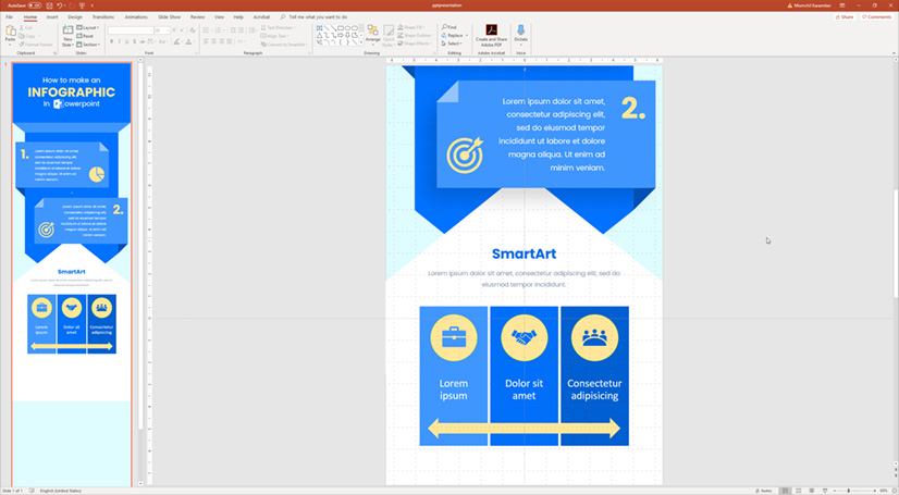 Infographic in PowerPoint: Working with smart art