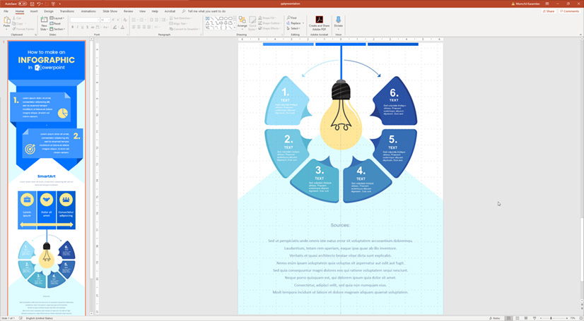Infographic in PowerPoint: Finishing the details and footer
