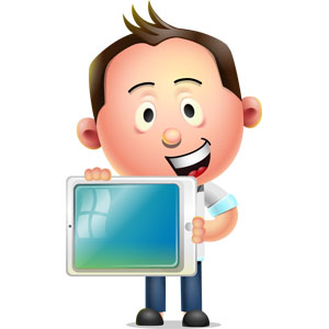 cartoon character man with tablet example