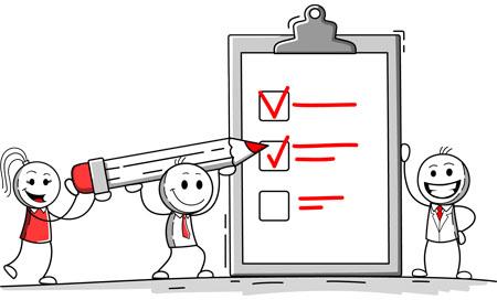 cartoon presentation: teamwork tasks concept