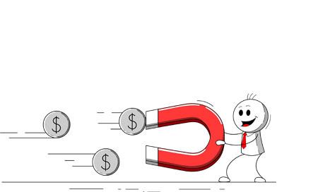 cartoon presentation: attracting money concept