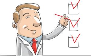 cartoon presentation: checklist businessman