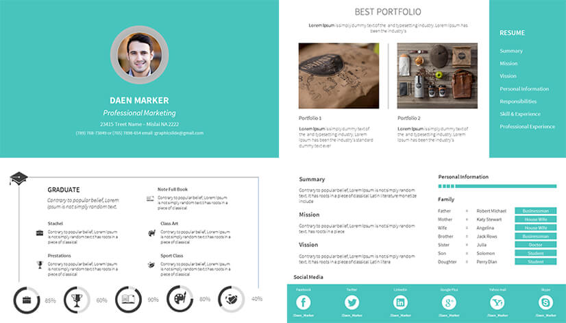 Free Personal Resume PowerPoint Template with Portfolio