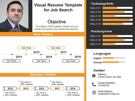 Visual Resume PowerPoint Template for Job Search