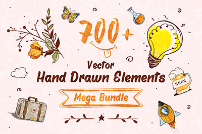 Hand Drawn Elements for Designers Mega Assets Bundle