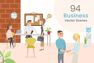 Business Vector Scenes Illustrations Bundle