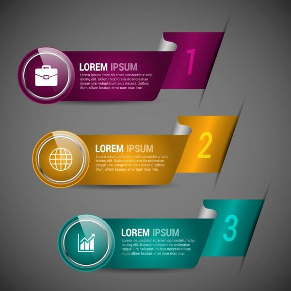 Infografías editadles gratis: infografía de vector libre: plantillas de infografía moderna estilo colorido cinta curvada