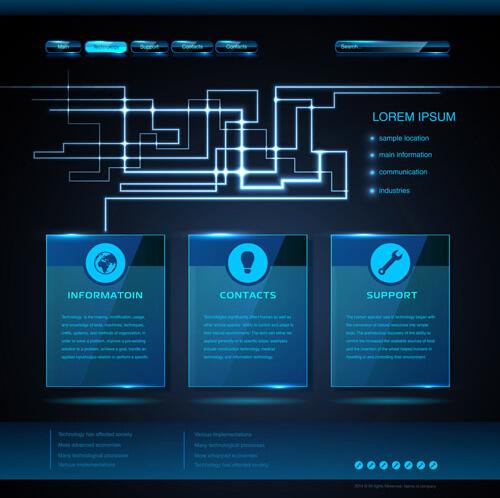 plantilla de infografía gratuita: vector de diseño de plantilla de infografía web azul