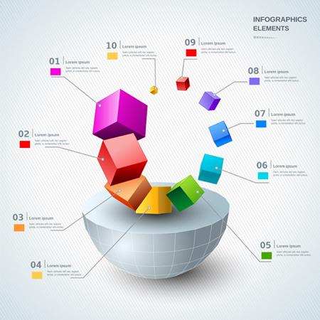 Infografías editadles gratis: Vector de plantilla moderna infografía 3d gratis