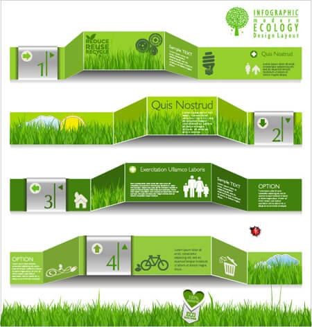 Infografías editadles gratis: Infografía de vector de plantilla verde gratis: infografía de ecología moderna