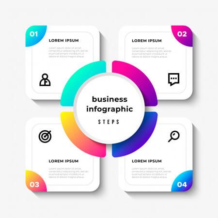 pasos de infografía simple vector de negocios