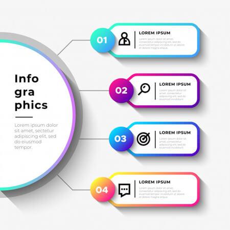 pasos de infografía simple negocio vector