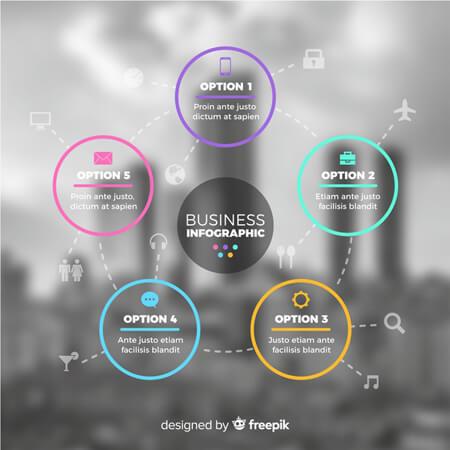 plantilla de infografía de vector libre: infografía de negocios paso