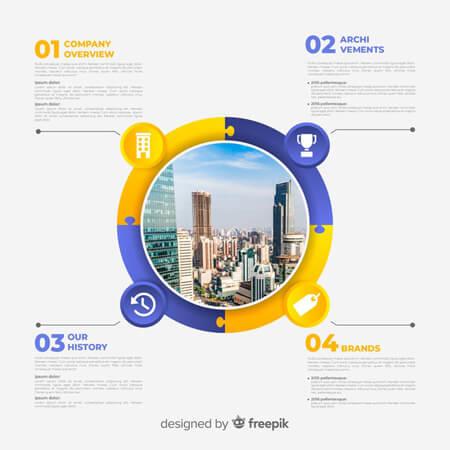 vector libre: infografía empresarial moderna con imagen de la ciudad