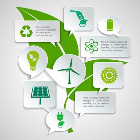 Infografías editadles gratis: plantilla de infografía de vector libre: infografía de ecología con ilustración de vector de concepto de hoja verde