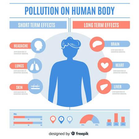 Infografías editadles gratis: plantilla de vector libre infografía: contaminación cuerpo humano infografía