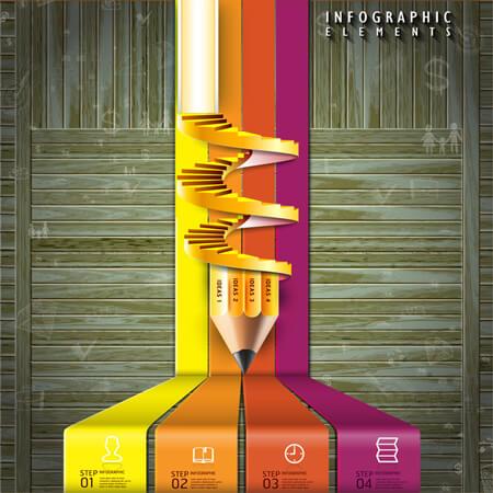 Infografías editadles gratis: Escalera de lápiz de plantilla de infografía de vector 3D gratis