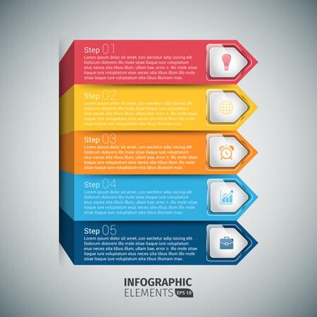 Infografías editadles gratis: escaleras de flecha de plantilla de infografía de vector 3D gratis