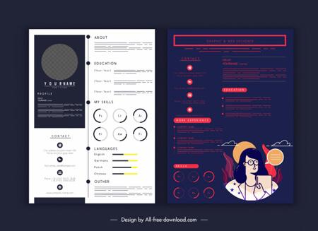plantilla de infografía de curriculum vitae de vector libre diseño elegante moderno brillante oscuro