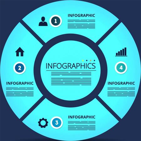 decoración de círculo plano azul de plantilla de infografía de vector libre