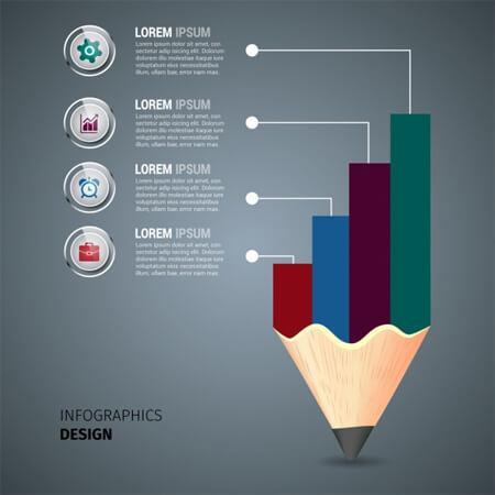 plantilla de infografía empresarial de vector libre decoración de lápiz y gráfico de color