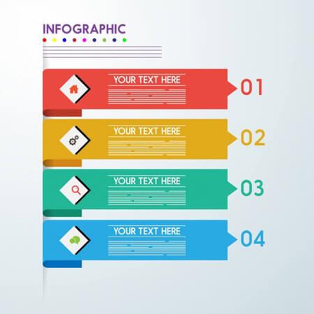 estilo de flechas coloridas horizontales de plantilla de infografía de vector libre