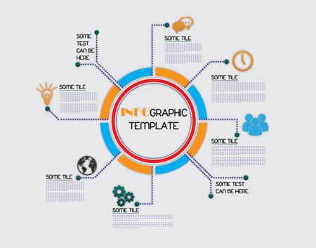 diseño de plantilla de infografía de vector libre con ilustración de círculo