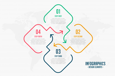 diseño de infografía de cuatro pasos de estilo de línea creativa de vector libre