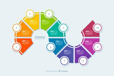 plantilla de vector libre: pasos infográficos planos coloridos