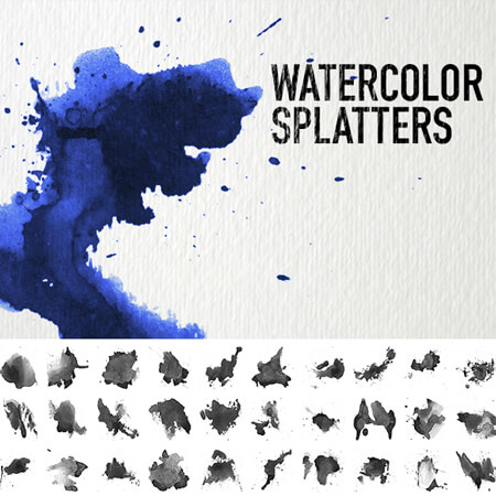 Free Watercolor Splatters Photoshop Brushes