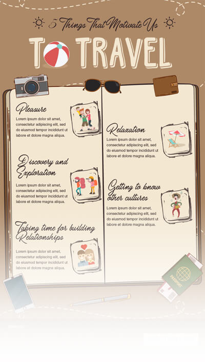 Free PSD Infographic Templates - Things that Motivate Us to Travel