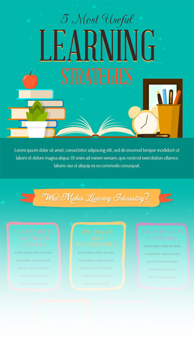 Free PSD Infographic Templates - Most Useful Learning Strategies