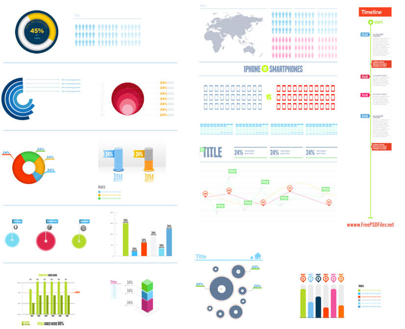 Free PSD Infographic Templates - Charts and Graphs Elements