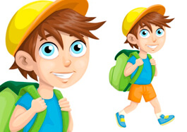 Free School Clipart - School Boy with a Backpack