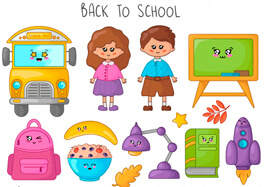Free School Clipart - Kawaii Cartoon School Supplies and Kids