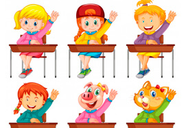 Set of Students Answeting Question Free Clipart
