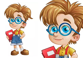 Geek Boy Vector Character Clipart