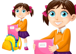 School Girl with a Backpack Clipart