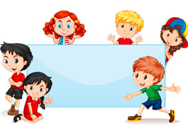 International Kids Blank Banner Clipart