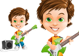 Cool Boy With Guitar Cartoon Character