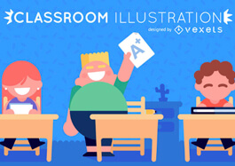 classroom Illustration with young students in flat style