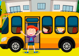 Children And School Bus At School