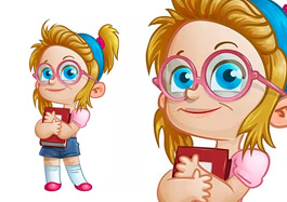 Free Geek Girl Vector Character