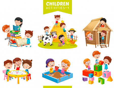 Clipart Illustrations of Kid Activities