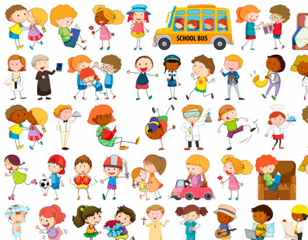 Set of Doodle Kid Cliparts