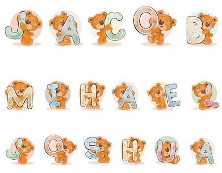 Cartoon Bear with Letters